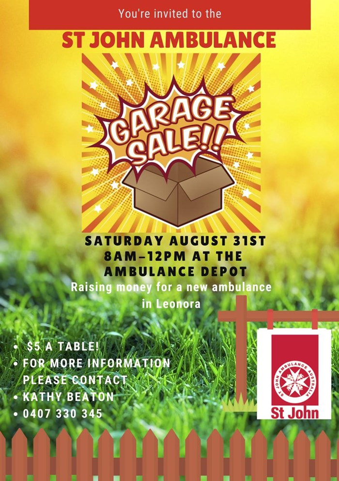 St John Ambulance Garage Sale