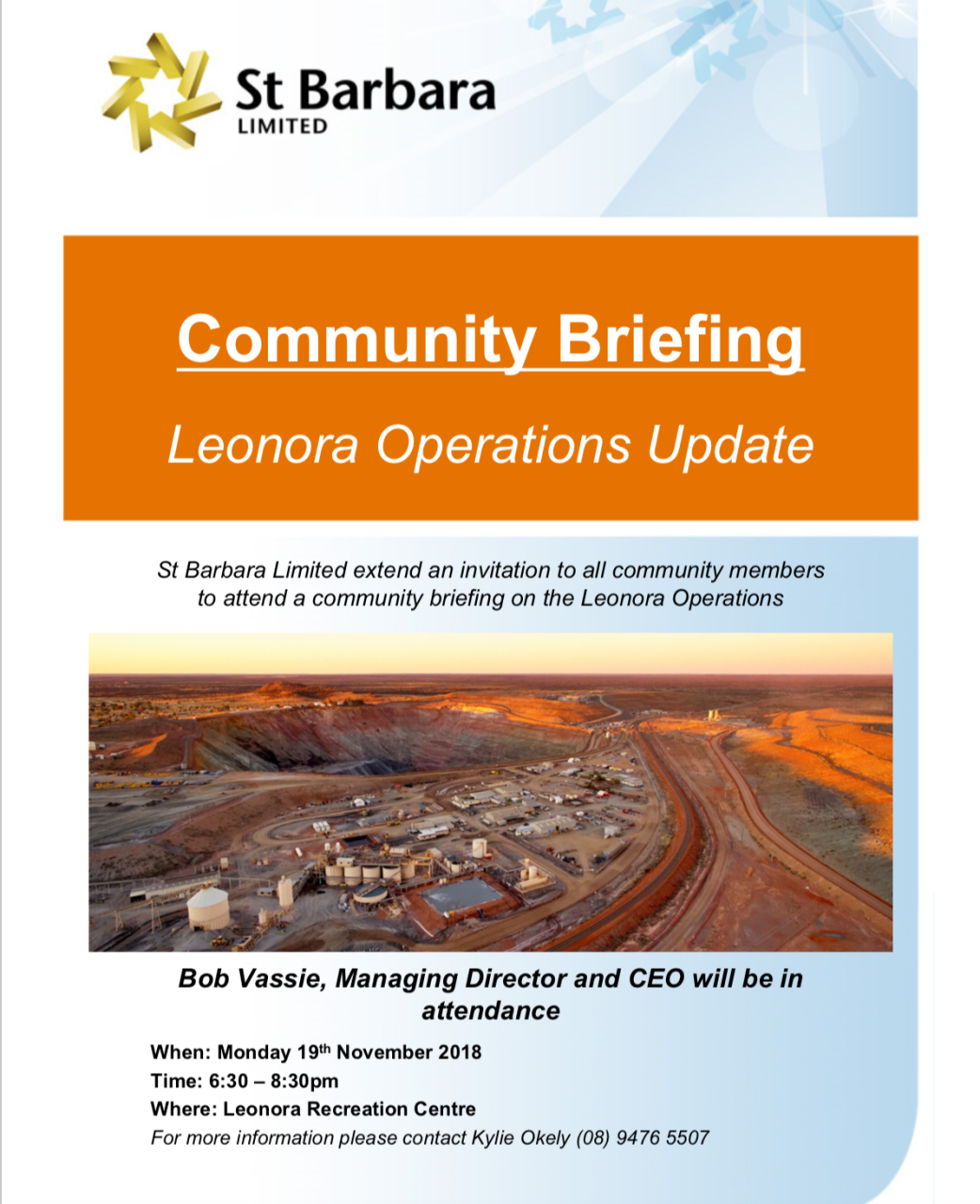 St Barbara Limited Community Briefing